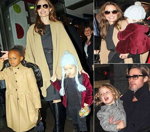 Angelina and Brad with kids