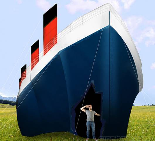 $12,000 RMS Titanic-shaped tent for camping fun