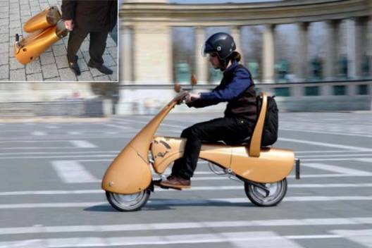 Antro Group's Moveo lightweight electric-scooter folds for storage and rolls smartly like a suitcase