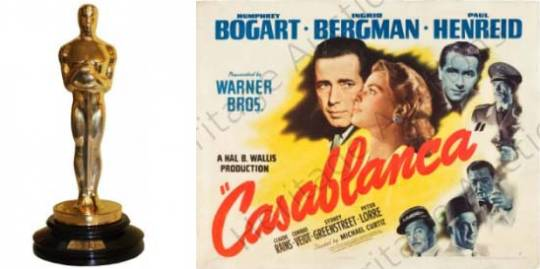 Casablanca movie poster and Oscar for sale