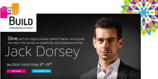 eBay and Build.org are jointly auctioning lunch with Jack Dorsey, to raise funds for a charitable cause