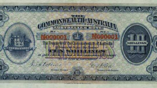 This A$10 bank note was issued in 1913, and is known to be the first bank note of the country