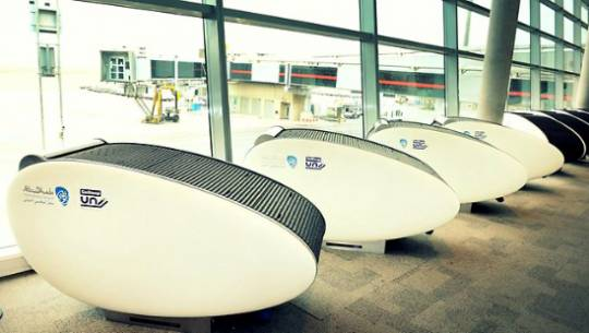 10 of these GoSleep sleeping pods have been installed at the Abu Dhabi International Airport