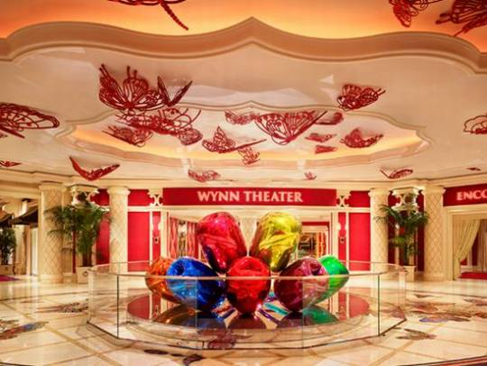 Jeff Koons $33.6M Sculptural Masterpiece Tulips illuminates the Wynn Theater rotunda at Wynn Las Vegas