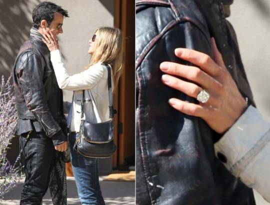 Jennifer Aniston's giant 10 carats engagement ring from Justin Theroux