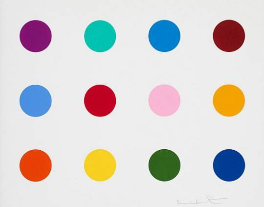 Damien Hirst colored spot painting