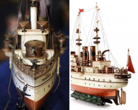 Battleship toy HMS Terrible collage
