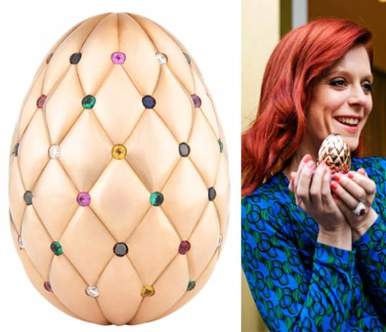 Faberge rose gold egg with 60 gemstones