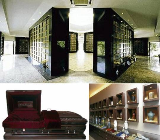 Nilai Memorial Park and the solid mahogany wood casket