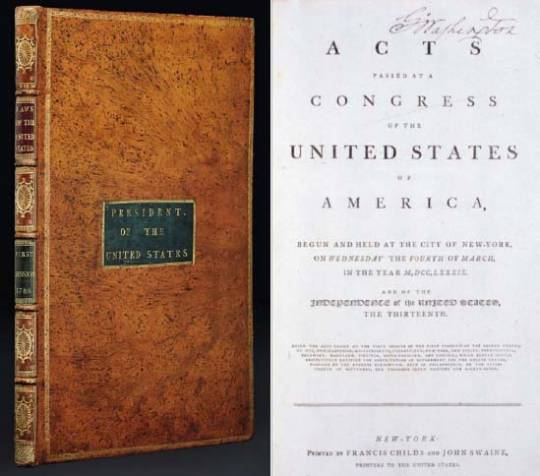 George Washington's 1789 Acts of Congress