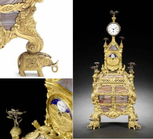 18th Century agate-paneled and silver-mounted musical ormolu table clock with moonphase indication