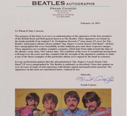 Sgt. Pepper's Lonely Hearts Club Band cover authenticity certificate