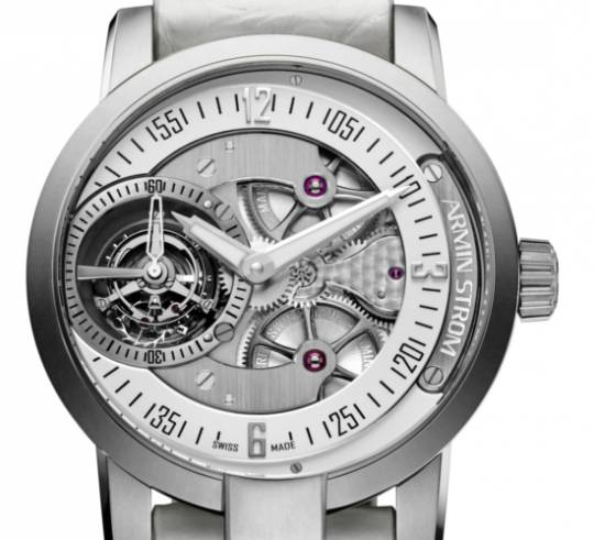 Armin Strom Gravity Air watch with titanium casing and white leather strap