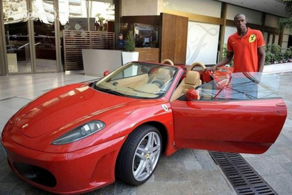The ace sprinter, Usain Bolt, has been spotted driving a Ferrari F430.