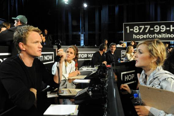 Neil Patrick Harris Drew Barrymore attends the Hope For Haiti Now Event together.