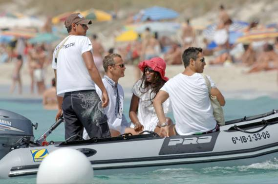 Naomi Campbell and her boyfriend in Spain