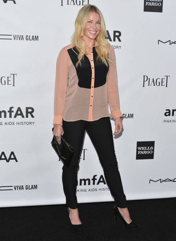 The Milk Studios in Hollywood, California hosted amfAR's Inspiration Gala for 2012 and a prominent attendee there was Chelsea Handler wearing a silk tuxedo shirt from Elizabeth and James.