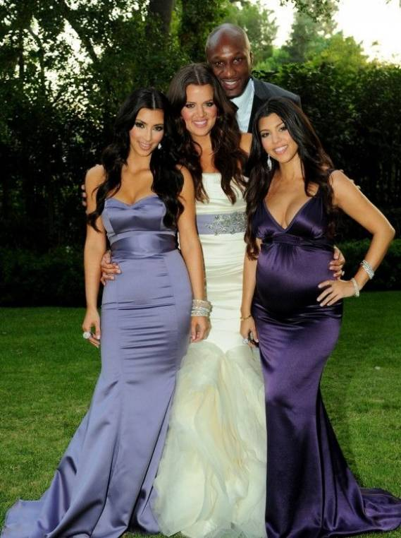 Khloe Kardashian and Lamar Odom on their wedding day