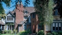 The Tudor-style house is located in the San Fernando Valley