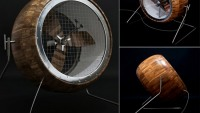 The handmade wooden fan at Etsy features propeller made of reinforced teak