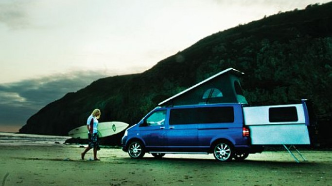 VW Transporter campervan gets an electrically extendable rear pod with DoubleBack