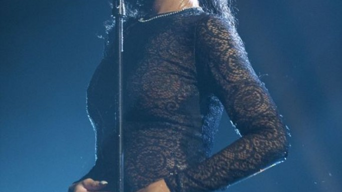 Rihanna in black lace dress