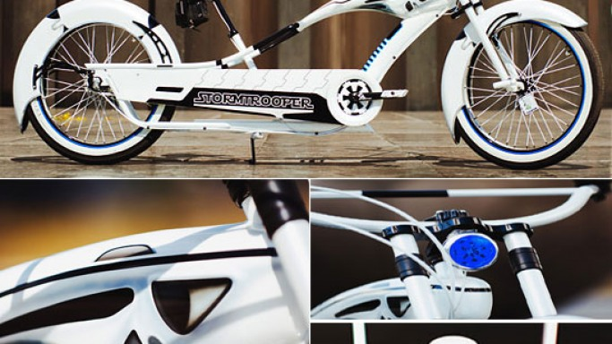 Custom Stormtrooper Star Wars bicycle for sci-fi lovers