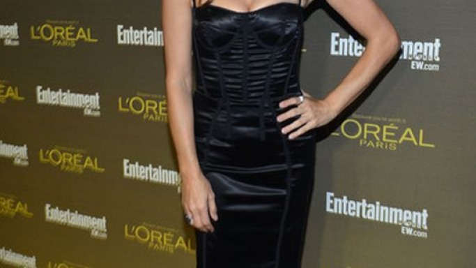 Hollywood television and film actress Kate Walsh was spotted wearing the leather Shark-Lock Sandals from Givenchy while attending the pre-Emmy party'12 from Entertainment Weekly.