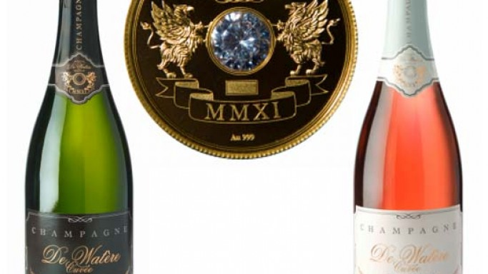 Champagne De Watère bearing a diamond and 24k gold coin is world's most expensive champagne at $45,300