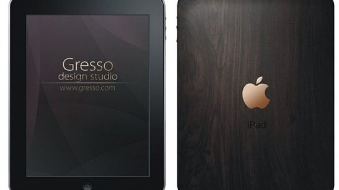Gresso does the iPad in African Blackwood with 18K pure gold logo