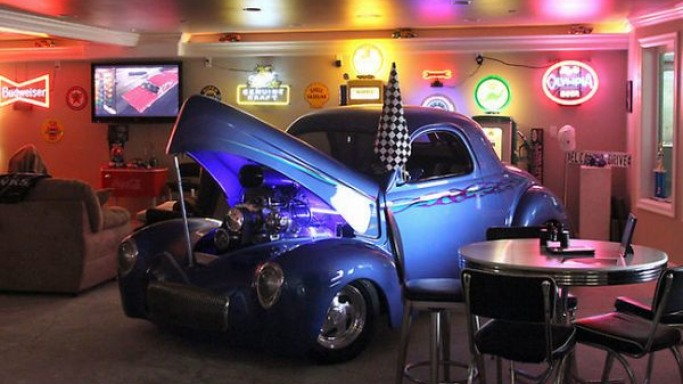 The 2,300-square-foot man cave with classic cars and a walk-in gun vault